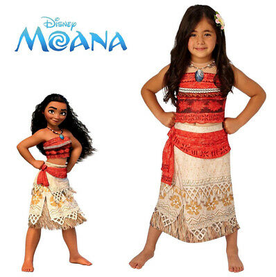 Disney Moana Costume Dlx Girls Licensed Dress Necklace Print S:S/M/L Child Kids