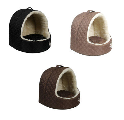 Luxury Igloo Dog and Cat Pet Bed Quilted Richmond Padded Gold Dark Brown Black