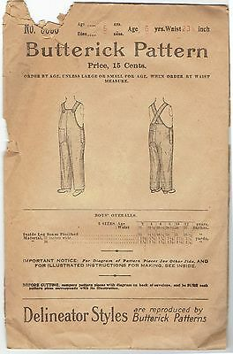 Butterick Delineator 5555 Antique Boys Overalls Pattern Sz Age 6 1890s