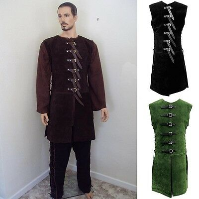 Suede Buckled Long Jerkin - Perfect for Re-enactment, Stage and Costume, LARP