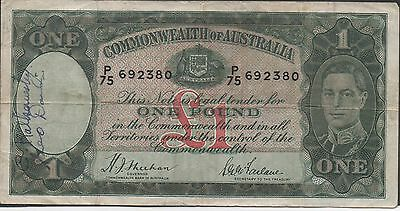 Australia 1 Pound  ND. 1938 P 26a Prefix P/75 Circulated Banknote