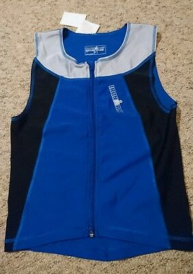 mens iron man tri top running singlet with front zipper size Large