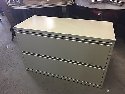 """2 DRAWER LATERAL SIZE FILE CABINET by HERMAN MILLER MERIDIAN w/LOCK&KEY 42""""W"""