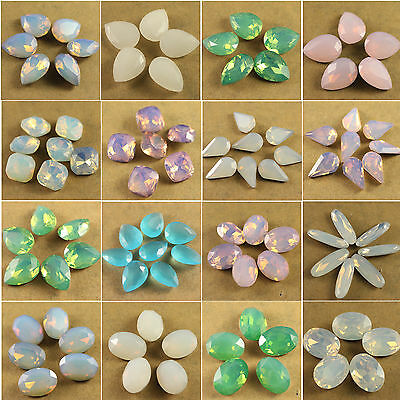 12 opal color Faceted Pointed foiled Back Glass crystal rhinestones drop/oval pk