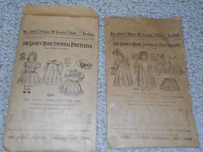 """Antique The Ladies Home Journal Patterns for 22"""" dolls"""