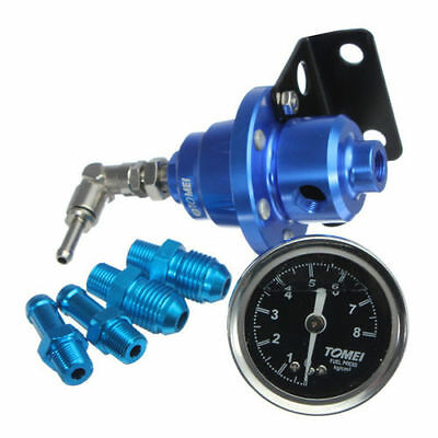 Adjustable Fuel Pressure Regulator With Filled Oil Gauge Aluminum Blue.UK SELLER