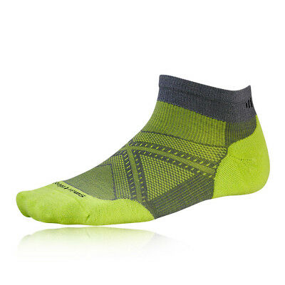 Smartwool PhD Run Elite Mens Grey Green Running Training Spots Anklet Socks