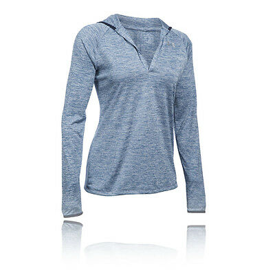 Under Armour Tech Twist Womens Blue Long Sleeve Hoodie Hooded Sports Top