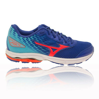 Mizuno Wave Rider 19 Junior Red Blue Running Road Sports Shoes Trainers