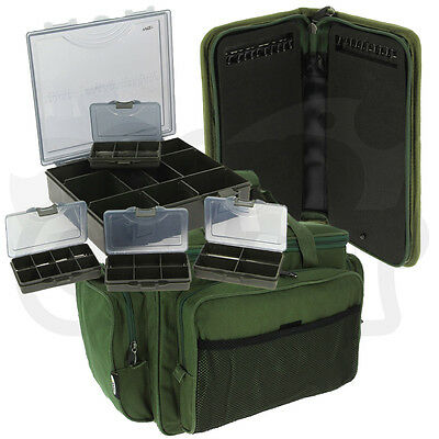 NGT Carp Fishing 4+1 Tackle Box with Stiff Rig Wallet and Insulated Carryall Bag