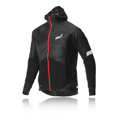 Inov8 AT/C Softshell Pro Mens Black Windproof Full Zip Running Hooded Jacket Top