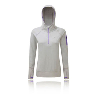 Ronhill Aspiration Victory Womens White Long Sleeve Running Hoodie Hooded Top