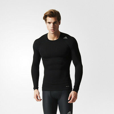 Adidas TechFit Base Mens Black Compression Long Sleeve Crew Neck Running Top