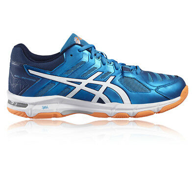 Asics Gel-Beyond 5 Mens White Blue Indoor Court Badminton Shoes Trainers