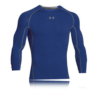 Under Armour Mens Blue HeatGear Breathable Long Sleeve Compression Top Blouse