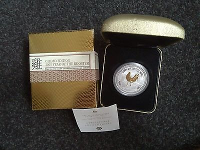 2005 Perth Mint Year of the Rooster 1oz Gilded Silver Coin