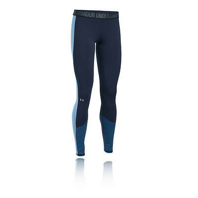 Under Armour Favorite Graphic Womens Navy Blue Long Running Tights Bottoms Pants