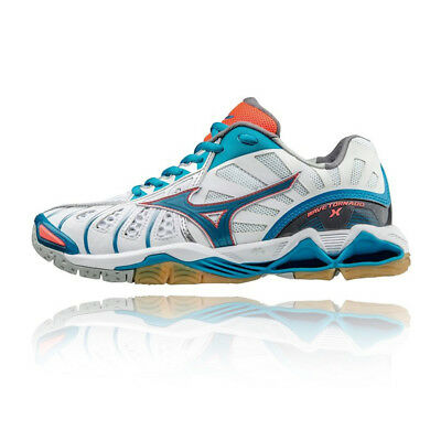 Mizuno Wave Tornado X Womens White Blue Squash Indoor Court Shoes Trainers