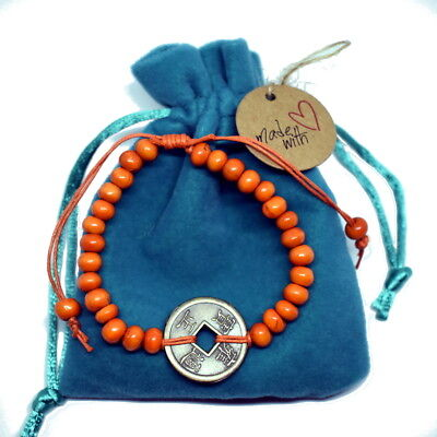 BALI Good Luck Feng Shui Bracelet with lucky chinese coin good fortune happiness