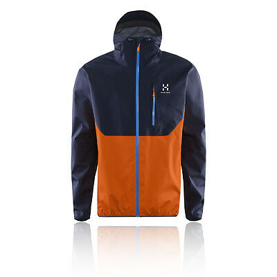 Haglofs Gram Comp Mens Navy Blue Orange Water Resistant Running Jacket Top