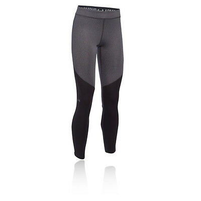 Under Armour ColdGear Womens Grey Black Water Resistant Gym Long Tights Bottoms