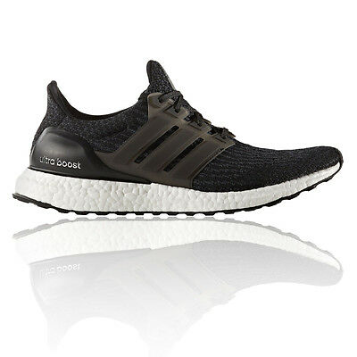 Adidas UltraBOOST Mens Black Cushioned Running Road Sports Shoes Trainers