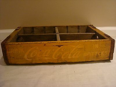 Vintage Wooden Yellow Coca-Cola Coke Soda Pop Bottle Crate Carrier Wood Box A