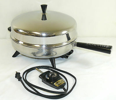 """VTG Farberware 12"""" Electric Skillet & Dome Lid Stainless Steel 310-A WORKS USA"""