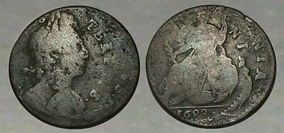 * INCREDIBLE !! * RARE Colonial Copper * DOUBLE- STRUCK ERROR COIN * dated 1699