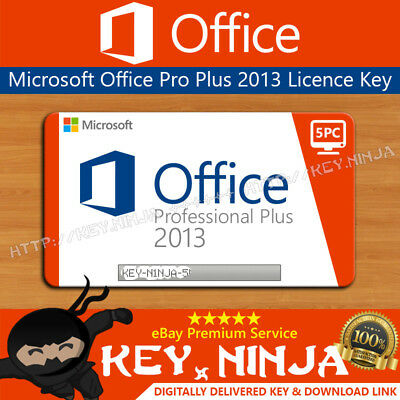 Microsoft Office Professional Pro Plus 2013 Key (5PC) 32/64bit Digital Licence