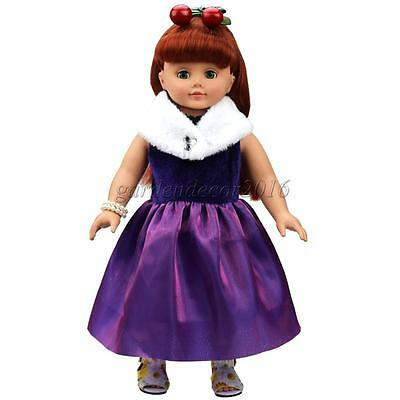 """Purple Dress w. Scarf for 18"""" American Girl Doll Our Generation Journey Girl"""