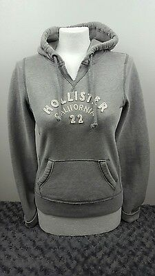Women's Hollister hoodie, grey with white writing, small [ref:1415]