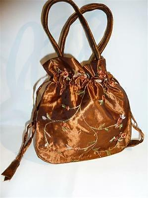 Embroidered Evening Bag - Silky Material - Drawstring - Bronze