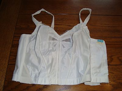 Vintage White Princess Bali 4204 Bow-Bra 40B Longline Nylon Satin  New