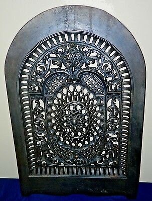 Victorian Wm Jackson Co. Arched Cast Iron Ornate Fireplace Cover Insert No. 44