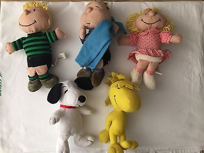 Lotto 5 Peluche Linus Snoopy Sally Woodstock Schroeder Charlie Brown Peanuts