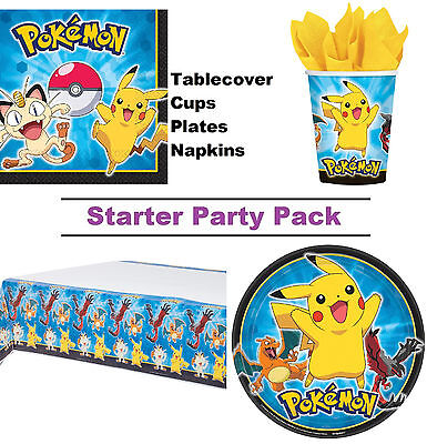 Pokemon | Pikachu | Meowth 8-48 Guest Starter Party Pack Cup | Plate | Napkin