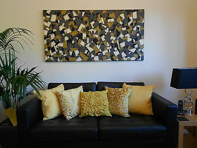 "Original Artwork Abstract Painting 60"" X 30"" Large Canvas By Dawn Ann Elcock"