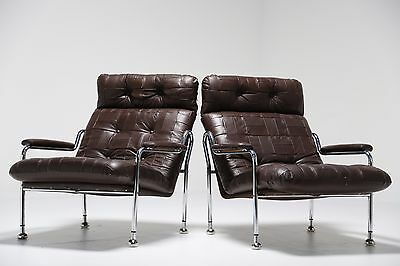 Vintage Leather And Chrome Lounge Chair Dux Pieff Style