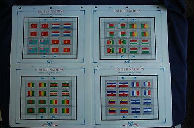 1980 United Nations Flag Series 4 Sheets Sc#325-340 With Album Pages