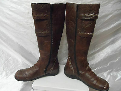 Rieker  women's    Boot  Brown   leather fur size uk 7 /40 eur  .