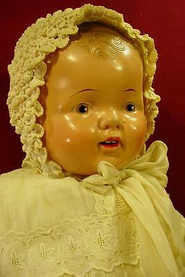 """Darling Vintage 24"""" Big Happy Baby Composition Mama Doll In Antique Gown Nice!"""