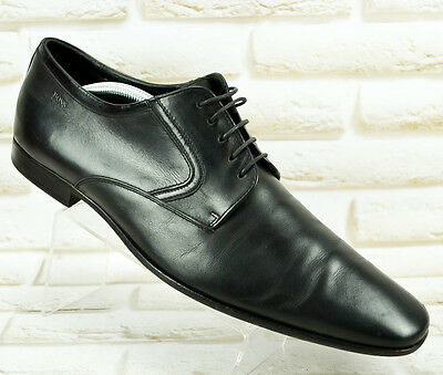HUGO BOSS Black All Leather Mens Formal Casual Shoes Lace Up Size 9 UK 43 EU