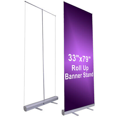 "Economy 33""x79"" Retractable Rollup Banner Stand Trade Show Signage Display."