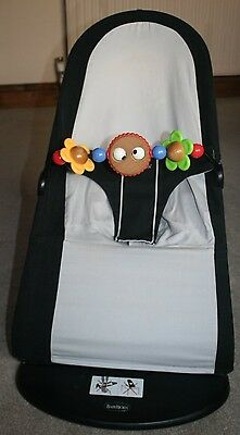 Baby Bjorn bouncer, black & grey, with wooden toy bar