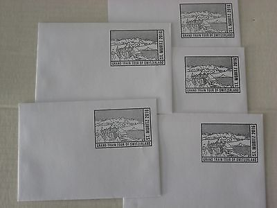5 Hand Stamped Swiss Envelopes - St Moritz 2016 - Unused