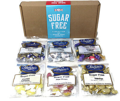Sugar Free Sweets Hamper Gift Box Diabetic Treats  6 x 100g Bags FREE DELIVERY!