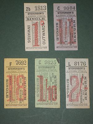 Vintage Bus Tickets - 5 x Stevenson's Uttoxeter - All Different