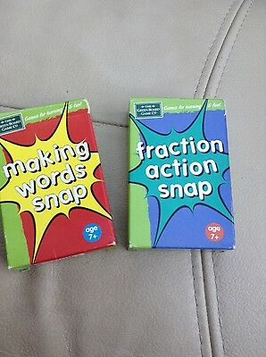 Making words snap cards and fraction action snap cards