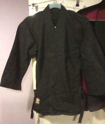 Black Karate Gi Suit Adult Size 3 Small Jacket Only
